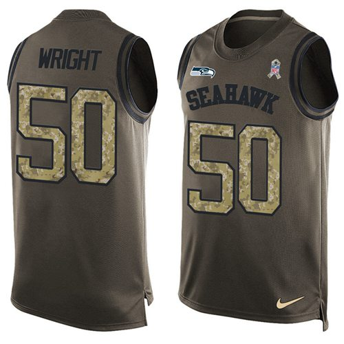 Nike Seahawks #50 K.J. Wright Green Men's Stitched NFL Limited Salute To Service Tank Top Jersey