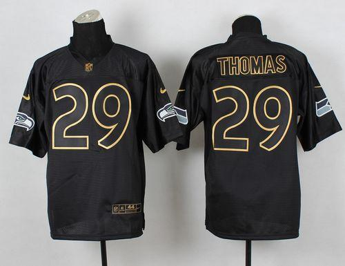Nike Seahawks #29 Earl Thomas III Black Gold No. Fashion Men's Stitched NFL Elite Jersey