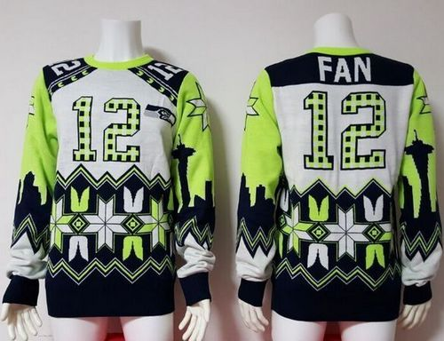 Nike Seahawks #12 Fan White Men's Ugly Sweater