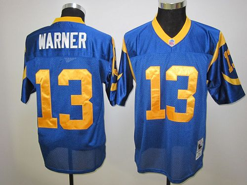 Mitchell and Ness Rams #13 Kurt Warner Blue Stitched NFL Jersey