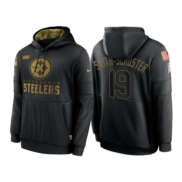Men's Pittsburgh Steelers #19 JuJu Smith-Schuster 2020 Black Salute to Service Sideline Performance Pullover Hoodie