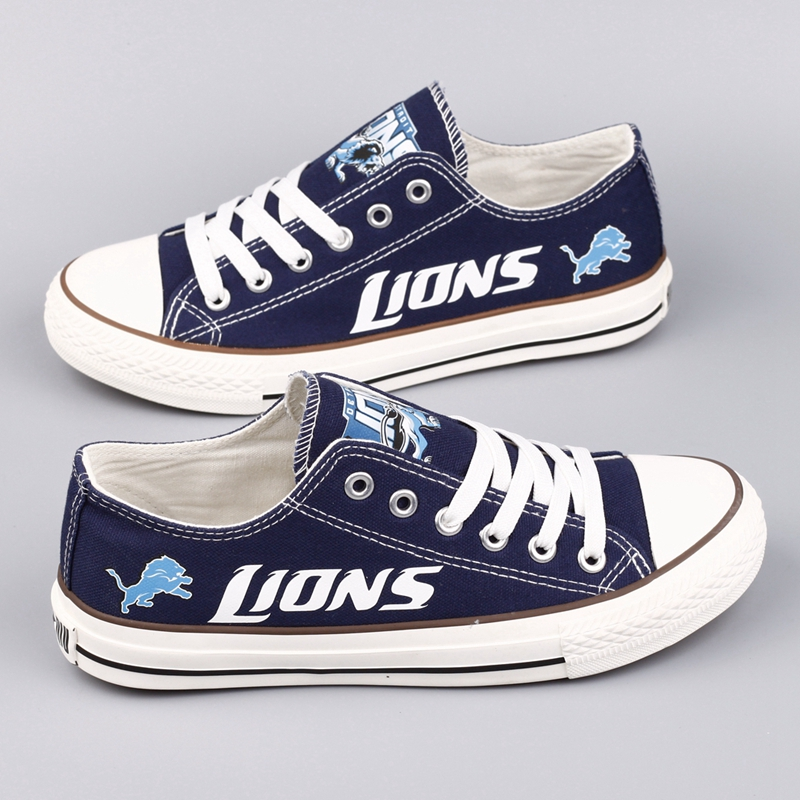 Women Or Youth NFL Detroit Lions Repeat Print Low Top Sneakers