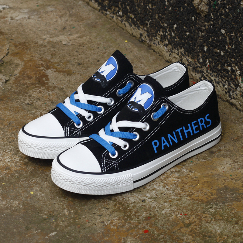 Women and Youth NFL Carolina Panthers Repeat Print Low Top Sneakers 003