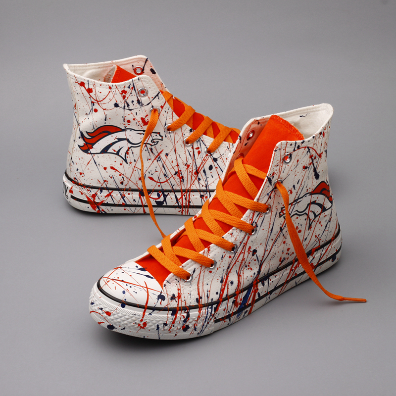Women Or Youth NFL Denver Broncos Repeat Print High Top Sneakers 004