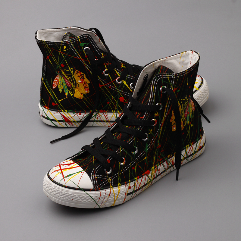 Women and Youth NHL Chicago Blackhawks Repeat Print High Top Sneakers