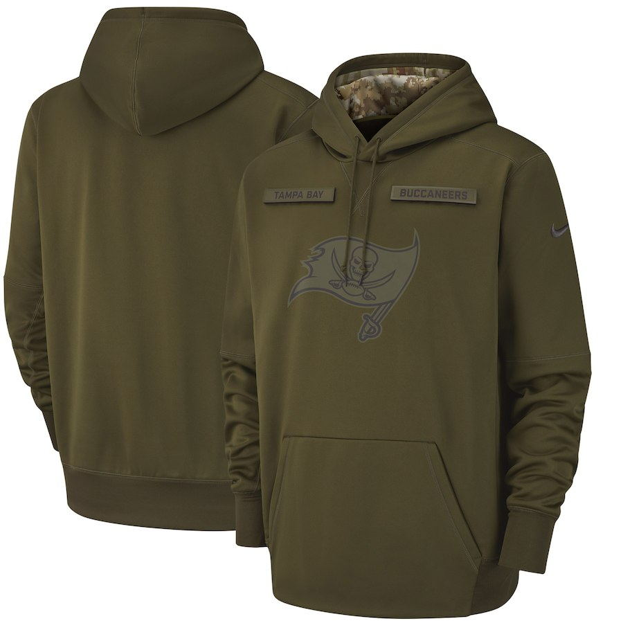 Men's Tampa Bay Buccaneers Olive Salute to Service Sideline Therma Performance Pullover 2018 NFL Hoodie