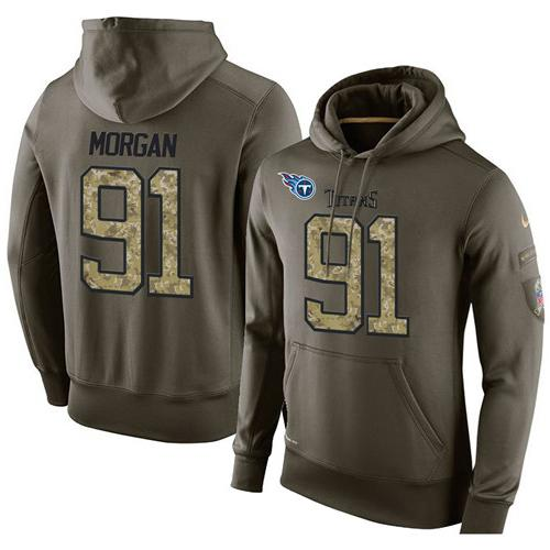 NFL Men's Nike Tennessee Titans #91 Derrick Morgan Stitched Green Olive Salute To Service KO Performance Hoodie