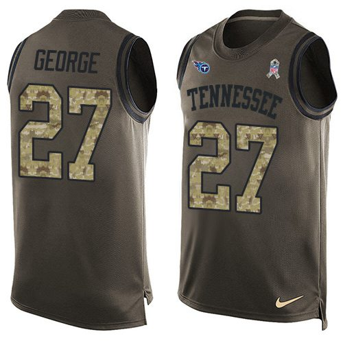 Nike Titans #27 Eddie George Green Men's Stitched NFL Limited Salute To Service Tank Top Jersey