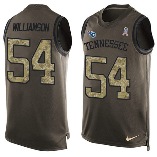 Nike Titans #54 Avery Williamson Green Men's Stitched NFL Limited Salute To Service Tank Top Jersey