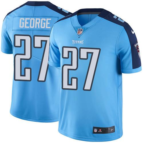 Nike Titans #27 Eddie George Light Blue Men's Stitched NFL Limited Rush Jersey