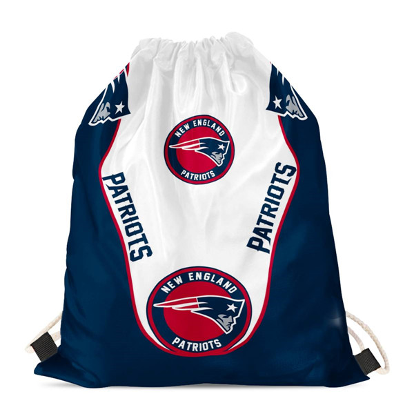 "New England Patriots Drawstring Backpack sack / Gym bag 18"" x 14"" 001"