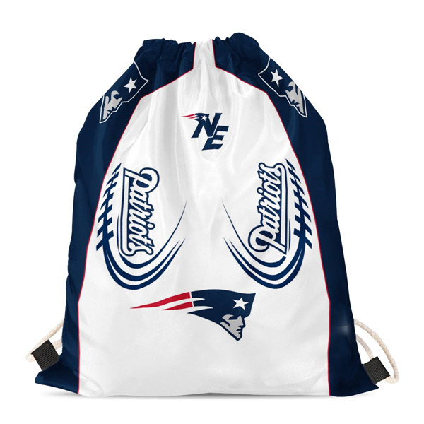 "New England Patriots Drawstring Backpack sack / Gym bag 18"" x 14"" 002"