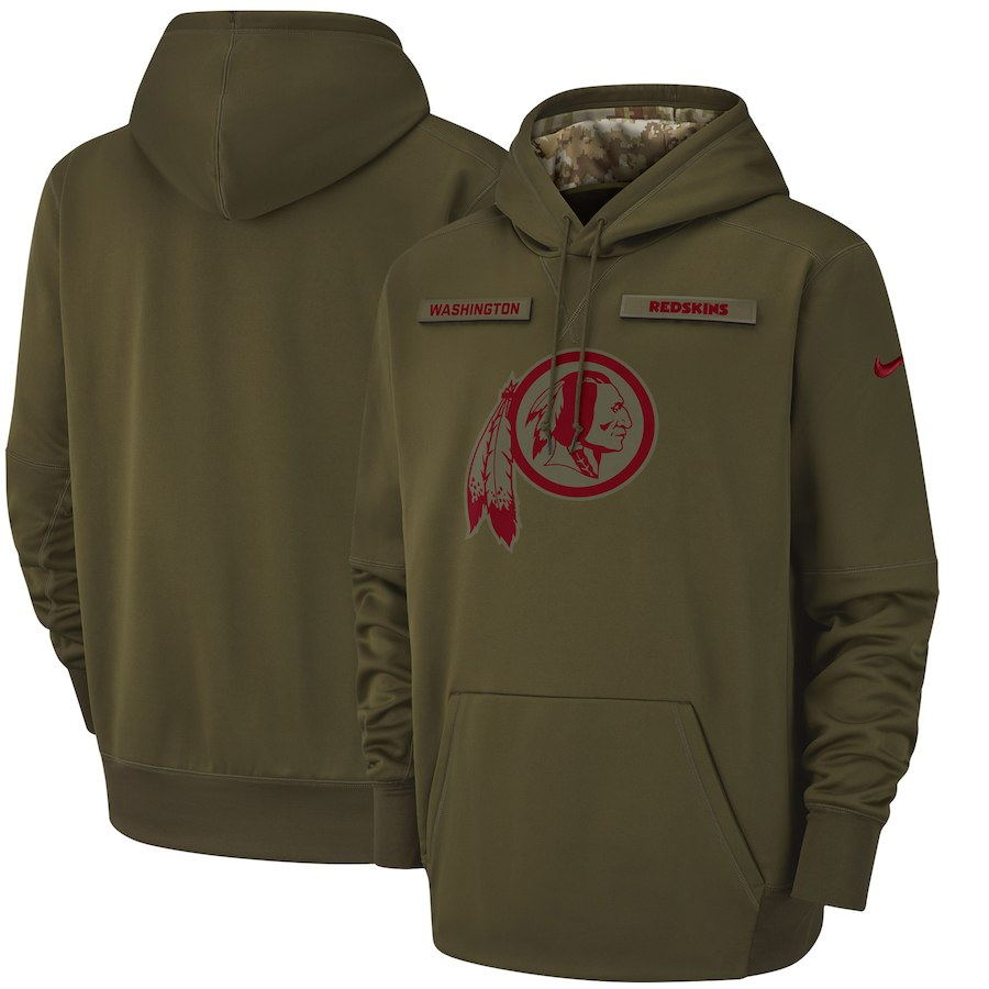 Men's Washington Redskins Olive Salute to Service Sideline Therma Performance Pullover 2018 NFL Hoodie