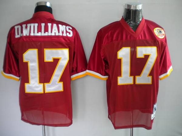 Mitchell and Ness Redskins #17 Doug Williams Red With 50TH Anniversary Patch Stitched NFL Jersey