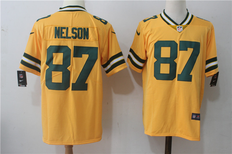 Men's Nike Green Bay Packers #87 Jordy Nelson Yellow Stitched NFL Limited Rush Jersey
