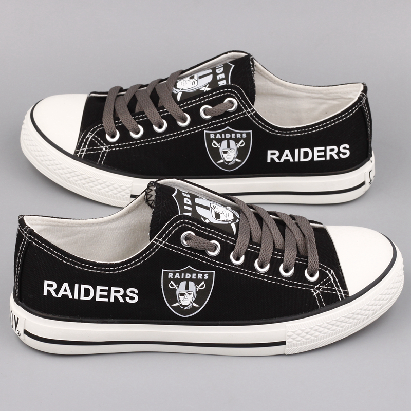 All Sizes NFL Oakland Raiders Repeat Print Low Top Sneakers 006