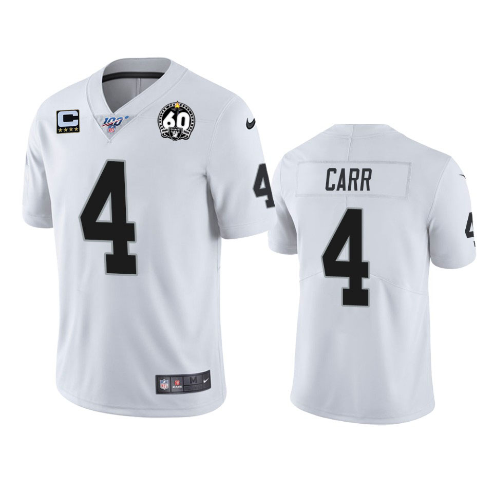 Men's Oakland Raiders #4 Derek Carr White 60th Anniversary With C Patch Vapor Limited Stitched NFL 100th season Jersey.