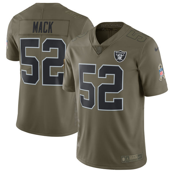 Men's Nike Oakland Raiders #52 Khalil Mack Olive Salute To Service Limited Stitched NFL Jersey