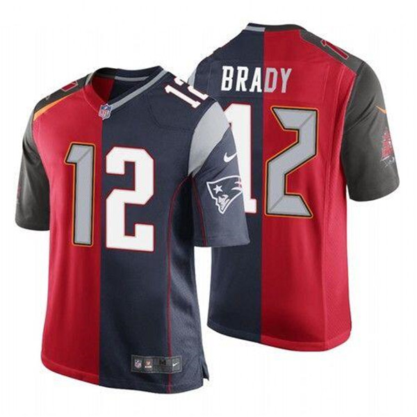 Men's Tampa Bay Buccaneers #12 Tom Brady Red and Navy Split GOAT Stitched NFL Jersey