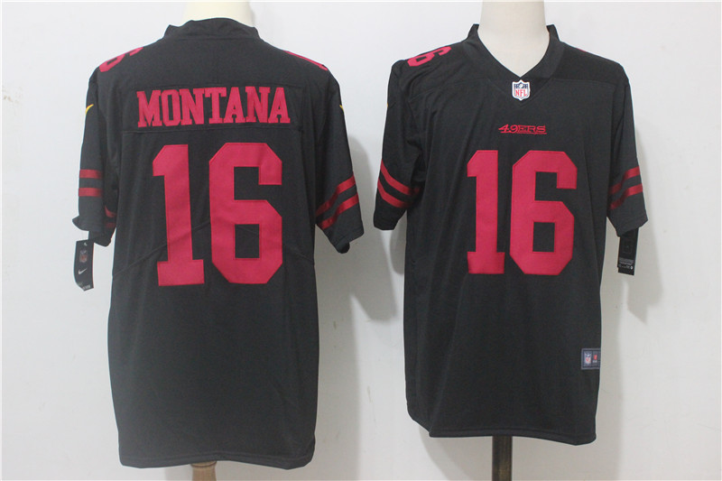 Men's Nike San Francisco 49ers #16 Joe Montana Black Alternate Stitched NFL Vapor Untouchable Limited Jersey