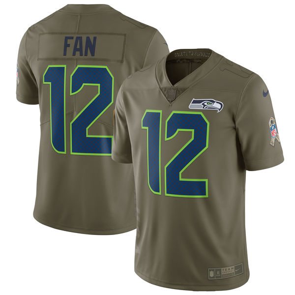 Men's Nike Seattle Seahawks #12 Fan Olive Salute To Service Limited Stitched NFL Jersey