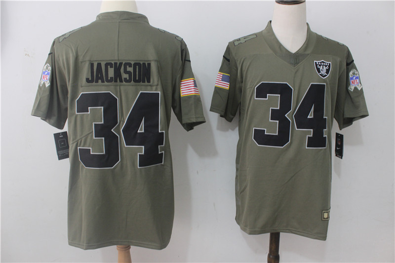 Men's Nike Oakland Raiders #34 Bo Jackson Olive Salute To Service Limited Stitched NFL Jersey