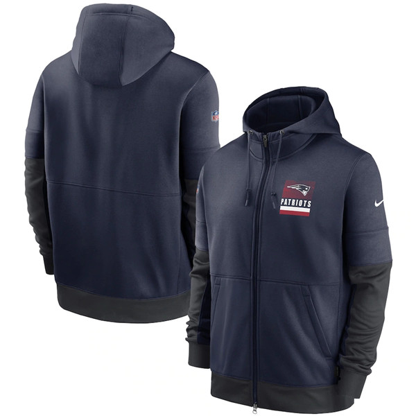 Men's New England Patriots Navy Sideline Impact Lockup Performance Full-Zip NFL Hoodie