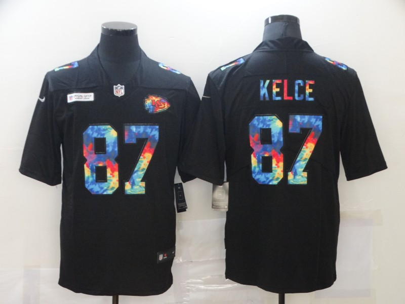 Men's Kansas City Chiefs #87 Travis Kelce Black Crucial Catch Limited Stitched NFL Jersey