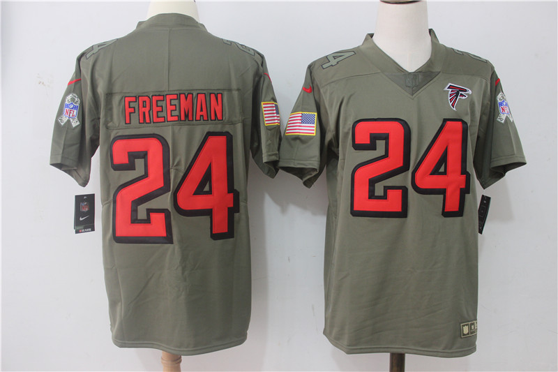 Men's Nike Atlanta Falcons #24 Devonta Freeman Olive Salute To Service Limited Stitched NFL Jersey