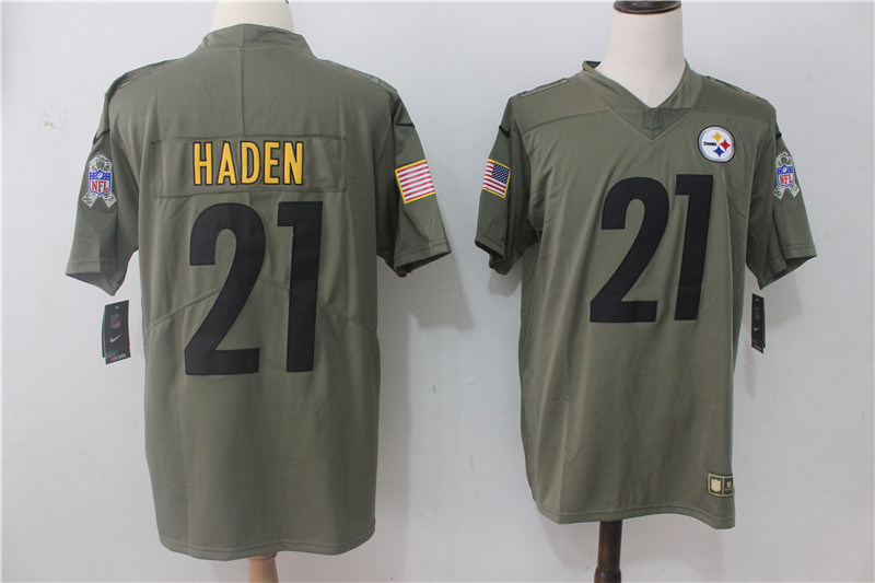Men's Nike Pittsburgh Steelers #21 Joe Haden Olive Salute To Service Limited Stitched NFL Jersey