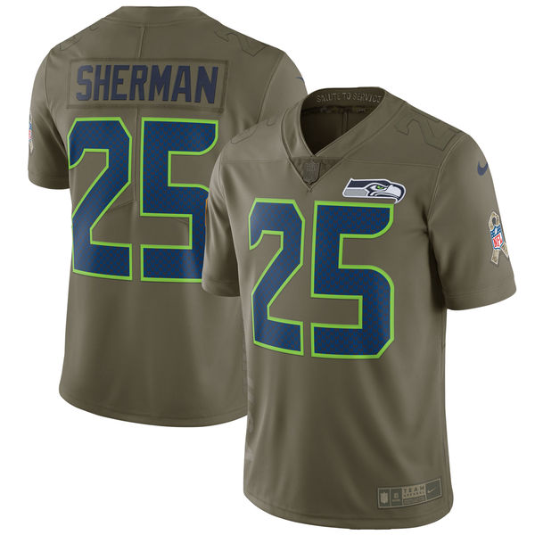 Men's Nike Seattle Seahawks #25 Richard Sherman Olive Salute To Service Limited Stitched NFL Jersey