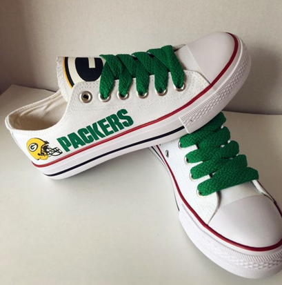 Women Or Youth Green Bay Packers Repeat Print Low Top Sneakers 012