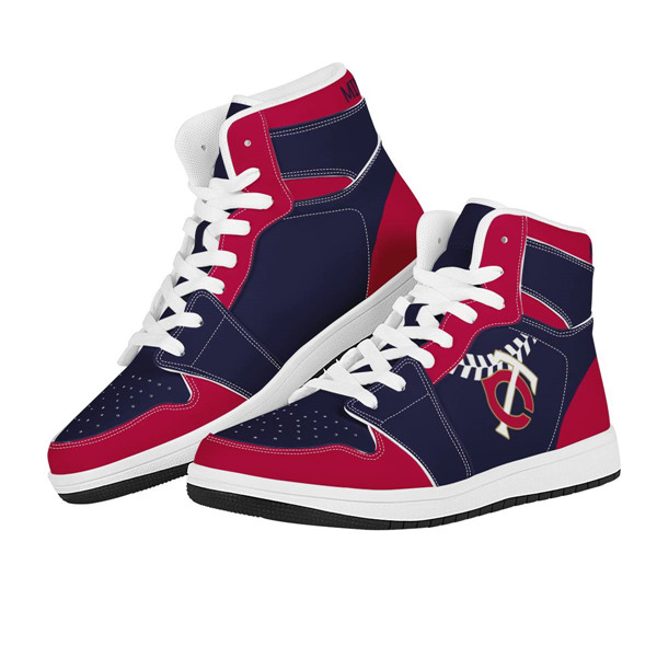 Men's Minnesota Twins AJ High Top Leather Sneakers 001
