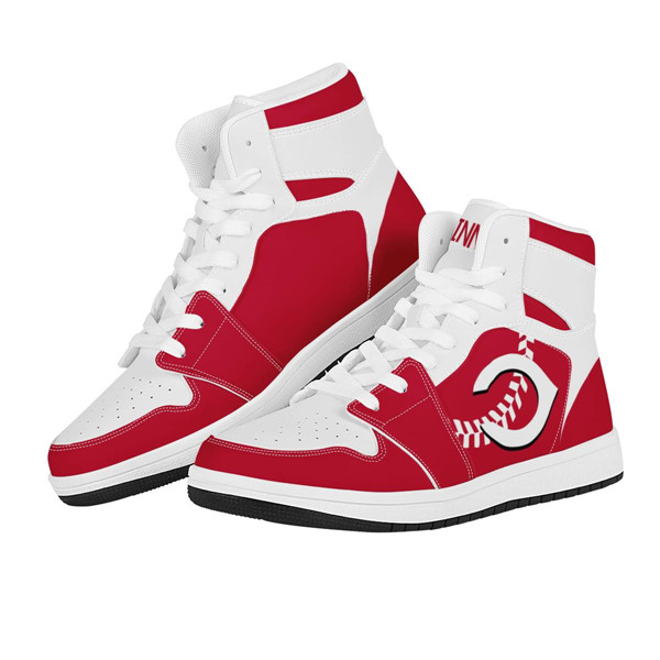 Men's Cincinnati Reds AJ High Top Leather Sneakers 002
