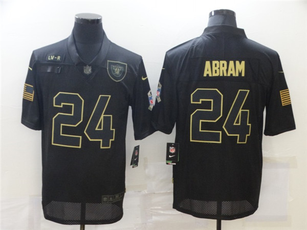 Men's Las Vegas Raiders #24 Johnathan Abram Black 2020 Salute To Service Limited Stitched NFL Jersey