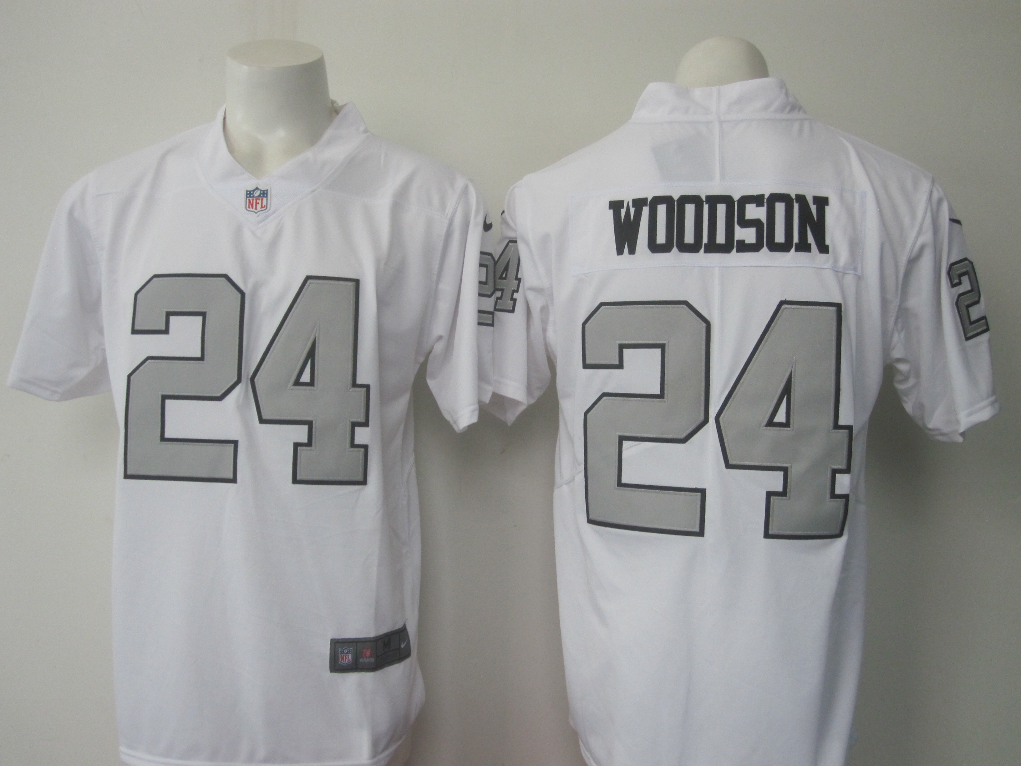 Men's Nike Oakland Raiders #24 Charles Woodson White Limited Rush Stitched NFL Jersey