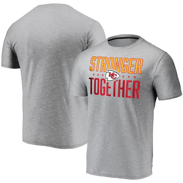 Men's Kansas City Chiefs Grey Charcoal Stronger Together T-Shirt
