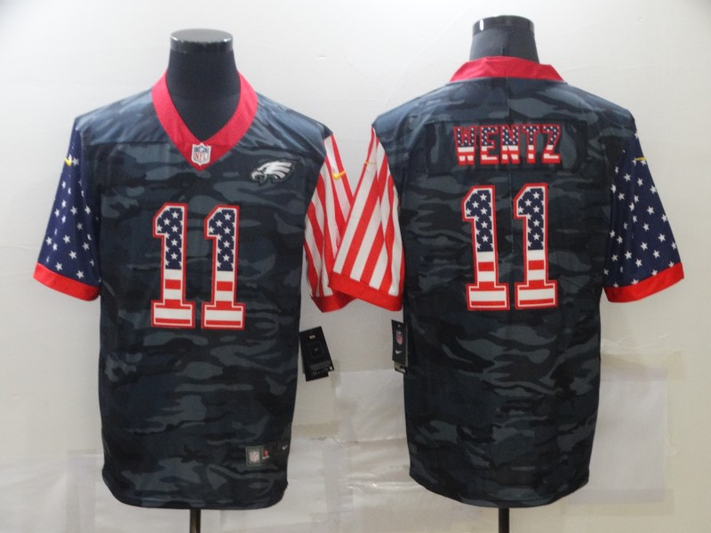 Men's Philadelphia Eagles #11 Carson Wentz 2020 Camo USA Flag Limited Stitched NFL Jersey