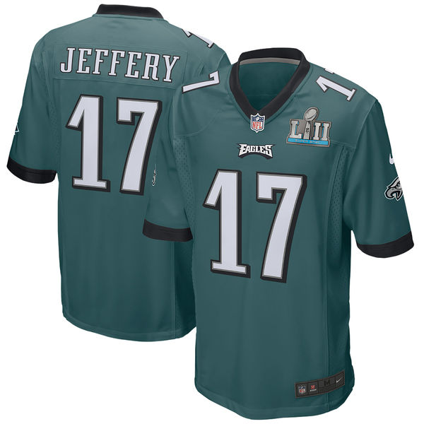 Men's Philadelphia Eagles #17 Alshon Jeffery Green Super Bowl LII Game Stitched NFL Jersey