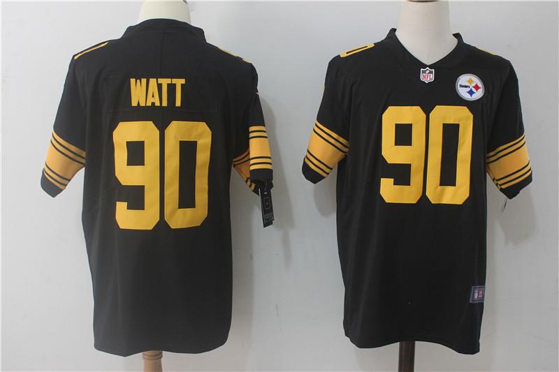 487849ca3 Men s Nike Pittsburgh Steelers  90 T.J. Watt Black Limited Rush Stitched  NFL Jersey