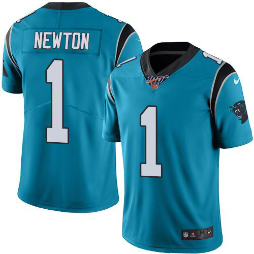 Men's Panthers 100th #1 Cam Newton Blue Stitched NFL Limited Rush Jersey