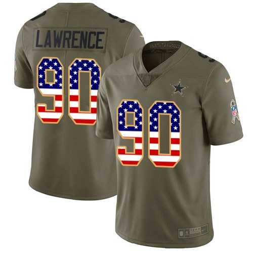 Men's Nike Dallas Cowboys #90 Demarcus Lawrencs 2017 Salute to Service Olive USA Flag Stitched NFL Limited Jersey