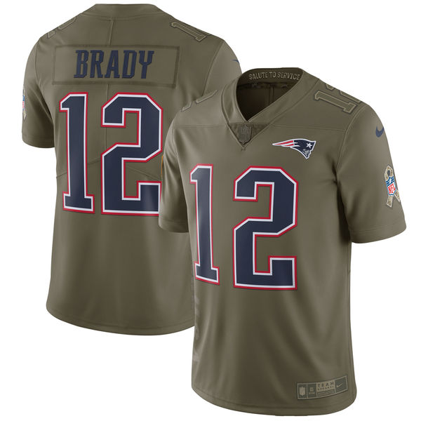 Men's Nike New England Patriots #12 Tom Brady Olive Salute to Service Limited Stitched NFL Jersey