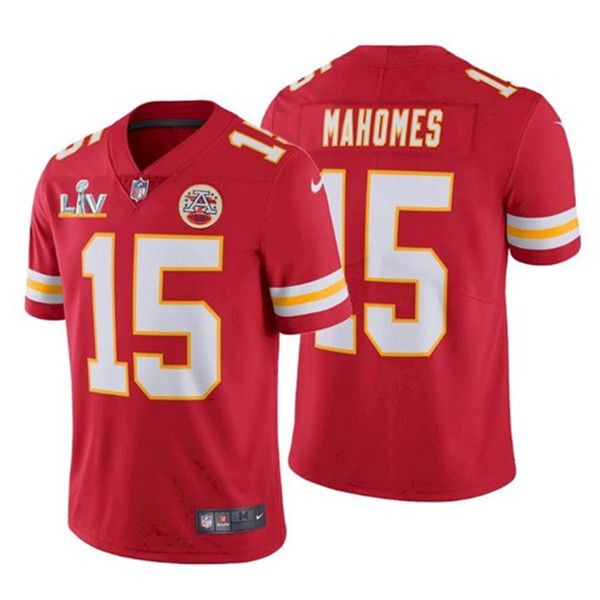 Men's Kansas City Chiefs #15 Patrick Mahomes Red 2021 Super Bowl LV Stitched NFL Jersey