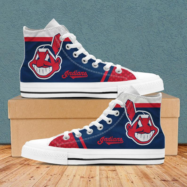 Women's Cleveland Indians Repeat Print High Top Sneakers