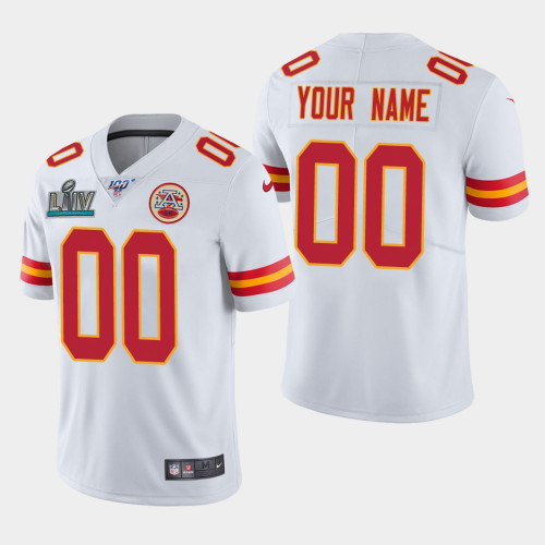 Men's Kansas City Chiefs Customized White Super Bowl LIV Vapor Untouchable Limited Stitched NFL Jersey