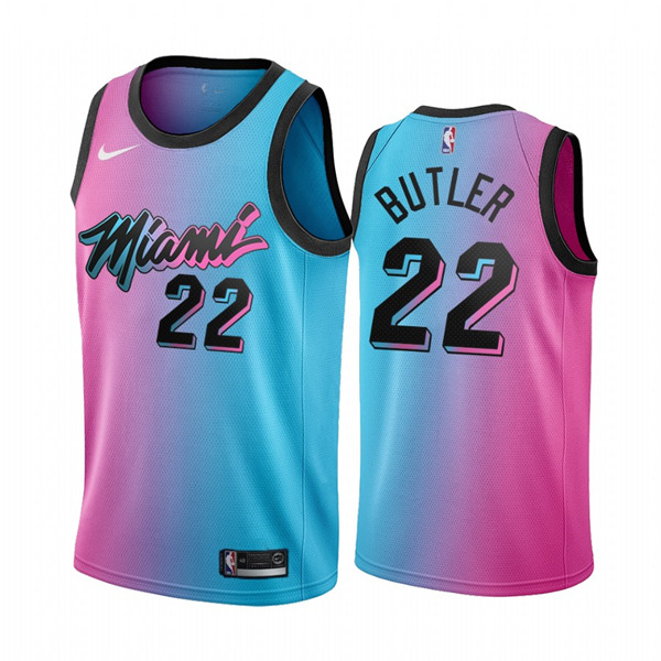 Men's Miami Heat #22 Jimmy Butler 2021 Blue/Pink City Edition Vice Stitched NBA Jersey