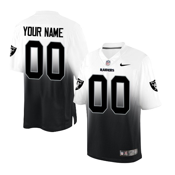 Custom Men's Raiders Active Players White/Black Fadeaway Limited Stitched NFL Jersey