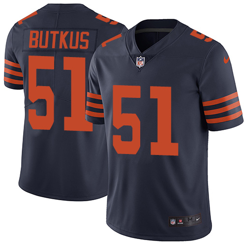 Mitchell & Ness Bears #51 Dick Butkus Navy Blue/Orange color Stitched NFL Jersey