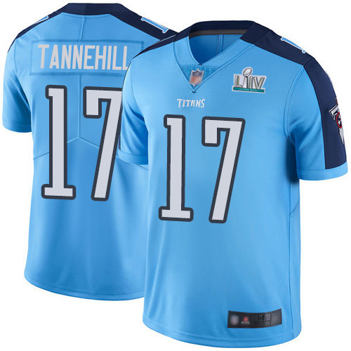 Men's Tennessee Titans #17 Ryan Tannehill Super Bowl LIV Light Blue With SuperBowl Patch Vapor Untouchable Limited Stitched NFL Jersey